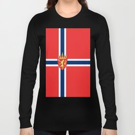 Flag of Norway Scandinavian Cross and Coat of Arms Long Sleeve T-shirt