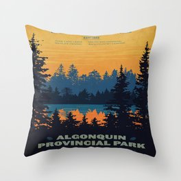 Vintage Algonquin Canada Travel Poster Throw Pillow