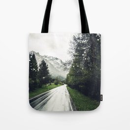 Down the Road - Mountains, Forest, Austria Tote Bag