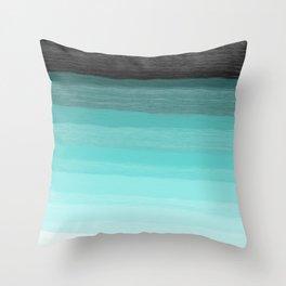 Blue brush abstract art stripes Throw Pillow