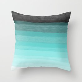 Blue brush abstract art stripes Throw Pillow