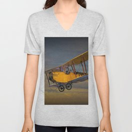Yellow Biplane with Sunset Cloudy Sky Unisex V-Neck