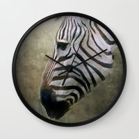zebra Wall Clocks featuring Zebra by Pauline Fowler ( Polly470 )