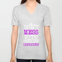 Don't mess with a Capricorn | Zodiac - Big and Bold neon purple Unisex V-Neck