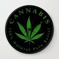 cannabis Wall Clocks featuring Cannabis by PsychoBudgie