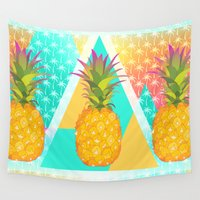 pineapples Wall Tapestries featuring Pineapples by Ornaart