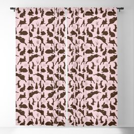 Rabbit Pattern | Rabbit Silhouettes | Bunny Rabbits | Bunnies | Hares | Pink and Brown | Blackout Curtain