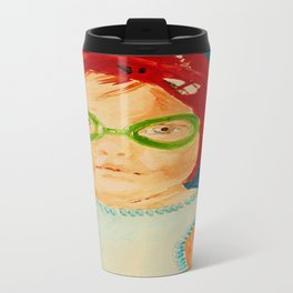 Maddie with Goggles, a painting by Karen Chapman Travel Mug