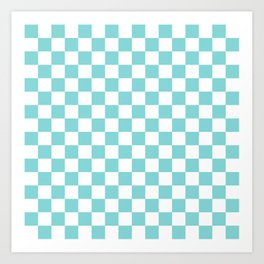 Gingham Pale Turquoise Checked Pattern Art Print