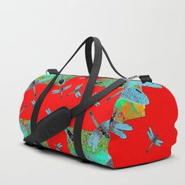 RED MODERN ART BLUE DRAGONFLIES MORNING GLORY Duffle Bag