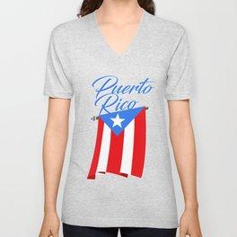 Big Puerto Rico Flag Unisex V-Neck