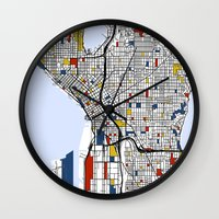seattle Wall Clocks featuring Seattle by Mondrian Maps