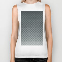 PPG Night Watch Pewter Green Gradient Gingham Square, Ombre Checker Board Pattern Biker Tank