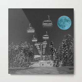 Chair Lift to the Teal Moon Metal Print