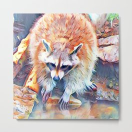 Aquarell Raccoon Metal Print