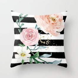 Rose Arrangement on Black Stripes No. 1 Throw Pillow
