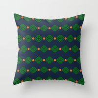 preppy Throw Pillows featuring Preppy Logo by Lillian Burns