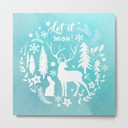 Let it snow! Christmas illustration Metal Print