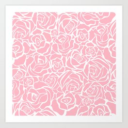Traditional Pink Rose Floral Print Art Print