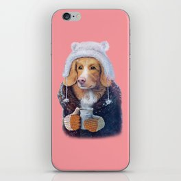 Winter dog iPhone Skin