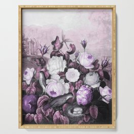 Pink Lavender Roses Gray Birds Temple of Flora Serving Tray