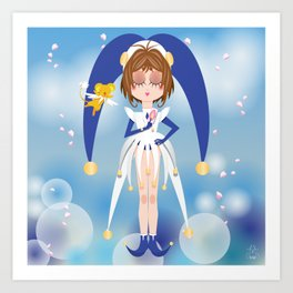 Mini Me Stars: Blue Sakura Art Print