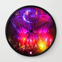 coachella Wall Clocks featuring Midnight City M83 Coachella by The Electric Blue / Yen-Hsiang Liang (Gr