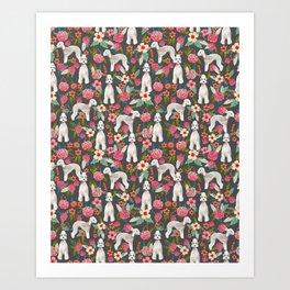Bedlington Terrier floral dog breed gifts for unique pet lover Art Print
