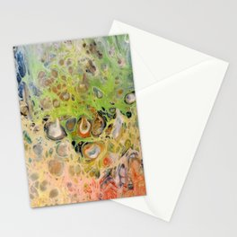Colorful cells - pour painting Stationery Cards