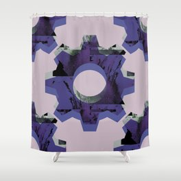 IMPROBABLE GREASE REEL blue Shower Curtain