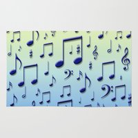 music notes Area & Throw Rugs featuring Music notes by Gaspar Avila