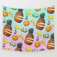 ninja Wall Tapestries featuring Fruit Ninja by Zeke Tucker