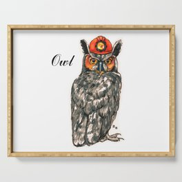 Owl in a helmet Serving Tray