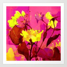 yellow flowers on fuchsia Art Print