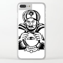Fortune Teller Eye on Crystall Ball Woodcut Clear iPhone Case