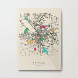 Colorful City Maps: Syracuse, New York Metal Print