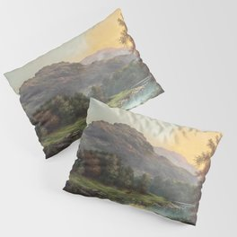A Deer at the Edge of a Highland Stream nature landscape painting by William Henry Millais Pillow Sham