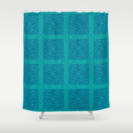 Squares in teal and blue Shower Curtain
