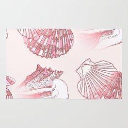 Seashells Coastal Nautical Pattern Pink Rug