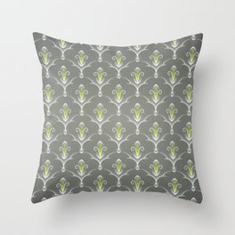 Grey Damask Pattern Throw Pillow