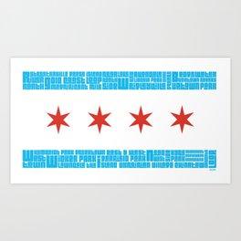 Chicago Flag Towns Art Print
