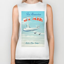See America By Air Commercial Airliner travel poster. Biker Tank