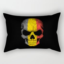 Dark Skull with Flag of Belgium Rectangular Pillow