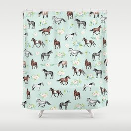 Floral Horse Pattern, Flowers and Horses, Hand Painted, Girl's Room, Romantic Blue Floral Shower Curtain