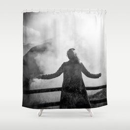 Ghost of Owakudani Mountain in Japan - Black & White Photography Shower Curtain