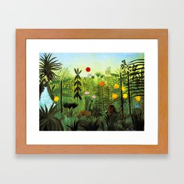 """Henri Rousseau """"Exotic Landscape with Lion and Lioness in Africa"""", 1903-1910 Framed Art Print"""