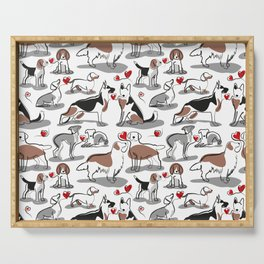 Woof endless love // white background red hearts continuous lined pair of dog breeds Serving Tray