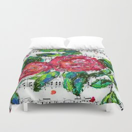Melody - Floral - Piano notes Duvet Cover