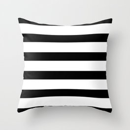 Black and White Horizontal Stripes Throw Pillow