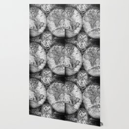 World Map Antique Vintage Black and White Wallpaper